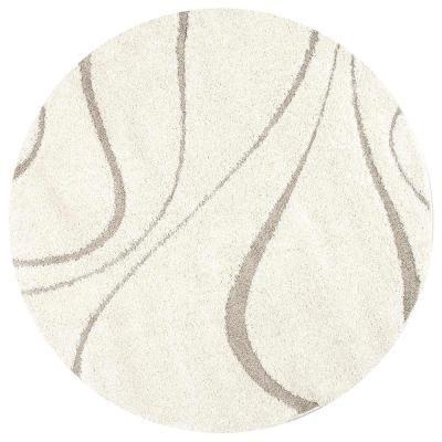 Nuloom Carolyn Contemporary Curves Shag Cream 8 Ft X 10 Ft Oval