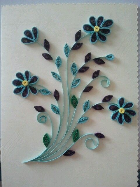 Quilled greeting card paper quilling flowers craft ideas tutorial also flower pinterest rh in
