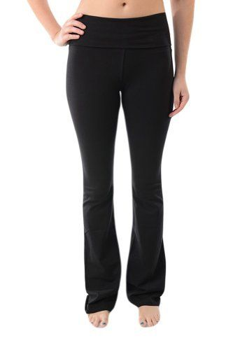 TParty Fold Over Waist Yoga Pants is part of Party Clothes Pants - These TParty yoga pants are perfect for your casual occasions from wearing to the gym or running around town  You'll love the comfortable fit and stretch that the high quality fabric provides                   Features  Fold over waist band Longer length, flared bottom High quality stretch knit fabric, non sheer Perfect for exercise or comfortable every day wear Inseam length 33 5  to 34 5