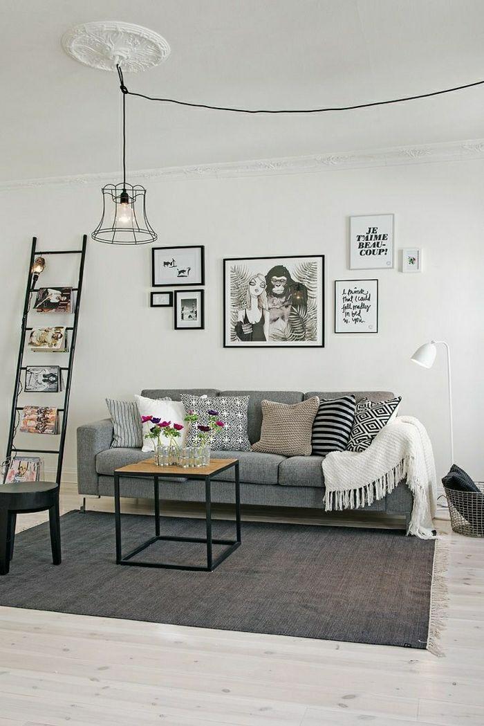 2 idee deco salon sejour avec tapis gris et parquet en bois clair et tapis gris