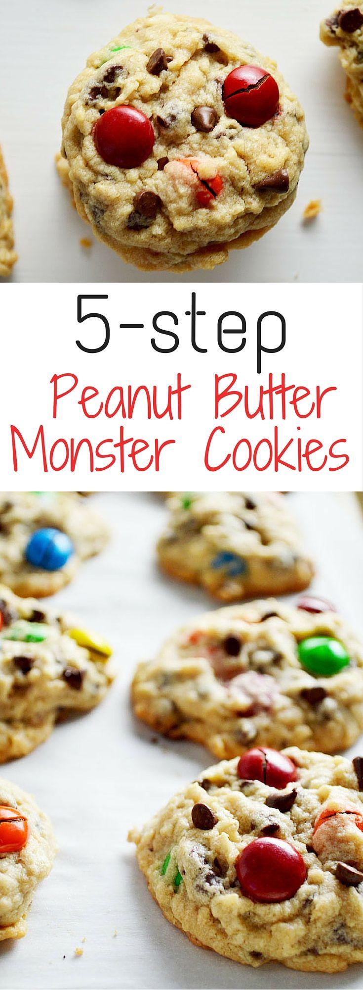 5 Step Peanut Butter Monster Cookies The Diy Foodie Recipe Low Carb Cookies Recipes Diy Food Recipes Desserts
