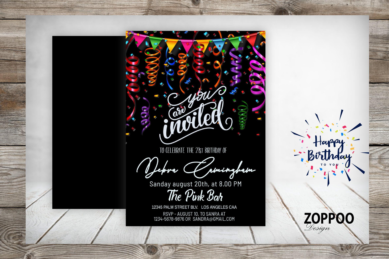 21st Birthday Invitation Gold Invitation Gold Twenty One