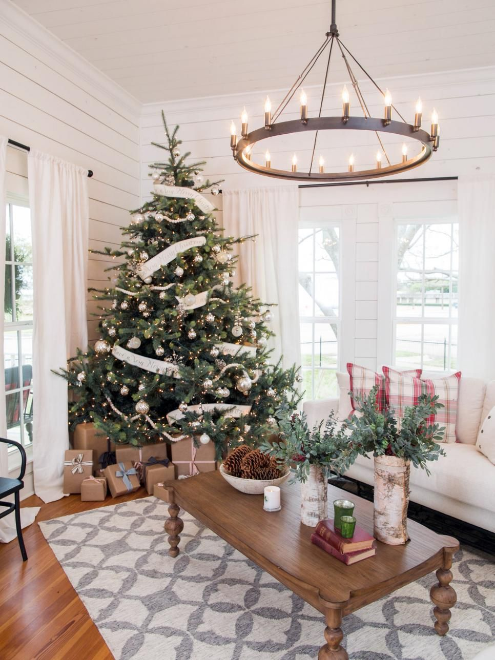 featured on hgtvs fixer upper holiday special christmas living room decor christmas tree decorations