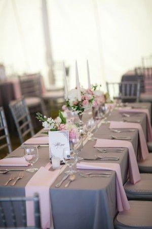Wedding Reception Tables & Venue / Elegant Pink + Gray. Wedding ...