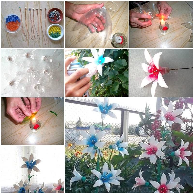 How to make painted plastic water bottles crafts flowers for Diy plastic bottle