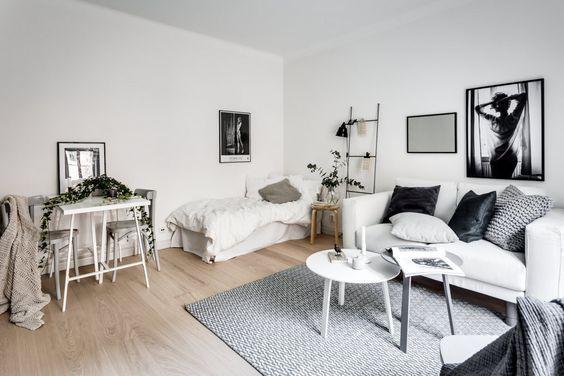 15 Ideas Of Minimalist And Simple One Room Apartment Decoratoo First Apartment Decorating Apartment Decor Living Room Designs One bedroom interior design