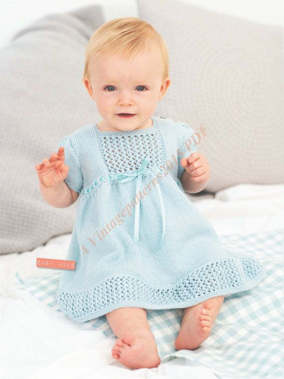 Baby Dress Knitting Pattern 4 Ply 6-24 Months - PDF ...