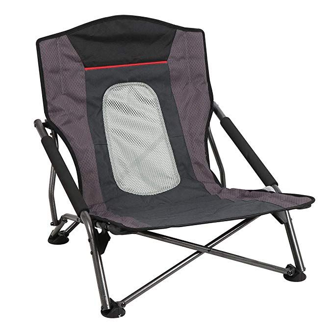 low back chairs for concerts cheap wooden second hand portal sling beach camp chair folding compact perfect concert sports tailgating with mesh