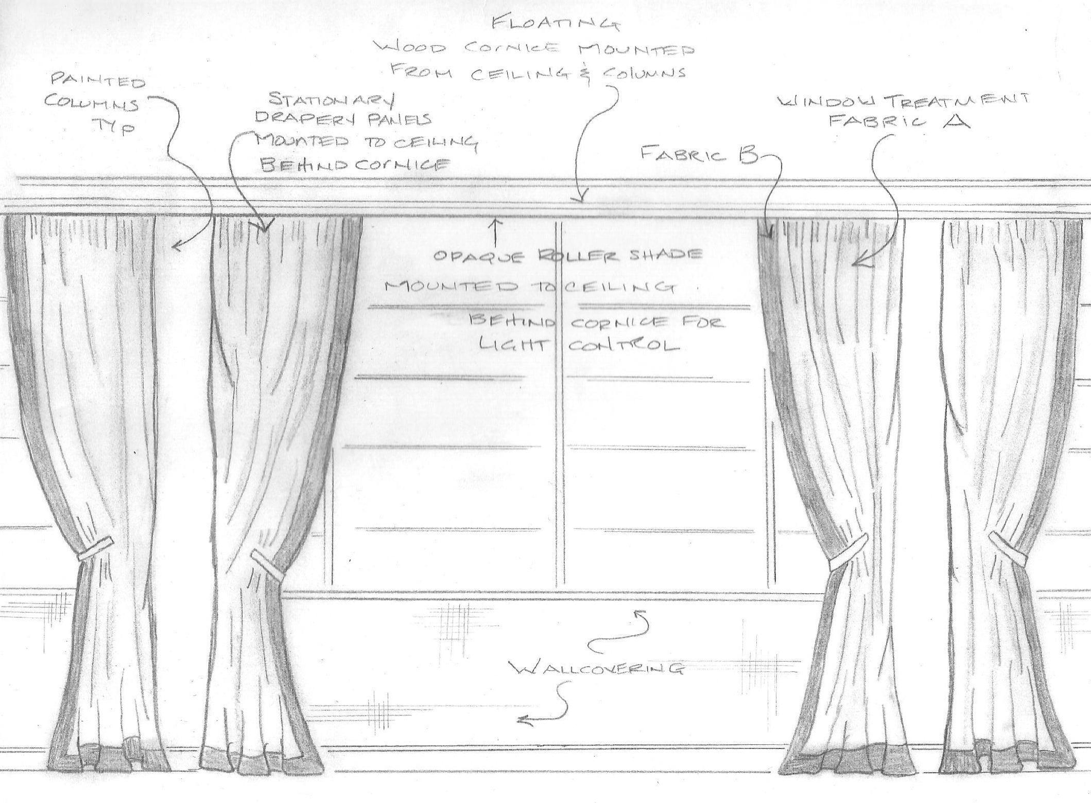 Elevation of window treatment window treatment for Window elevation design