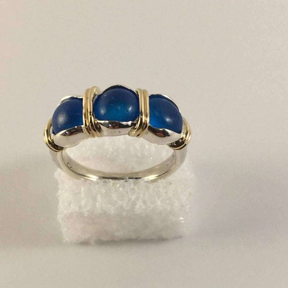 14kt gold and sterling silver ring with sea glass beads