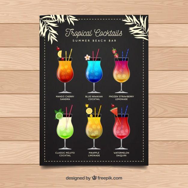 vintage menu of delicious cocktails free vector