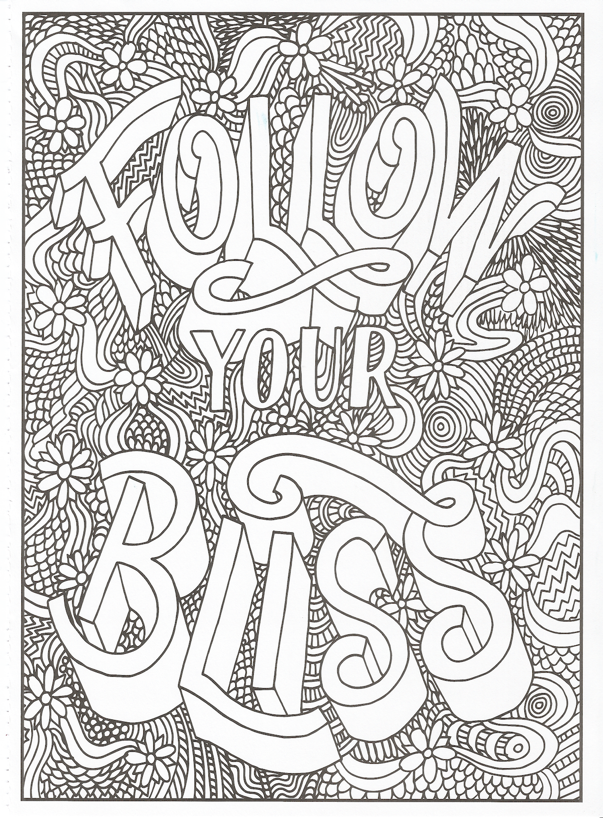 Timeless Creations Creative Quotes Coloring Page Follow Your