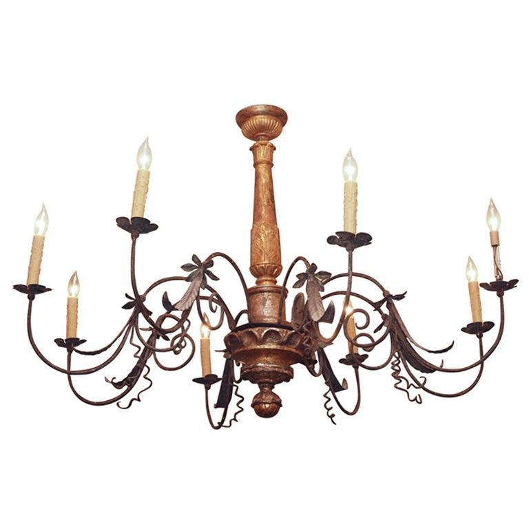 Large Scale Tuscan Chandelier Of Gilt Wood And Iron Chandelier