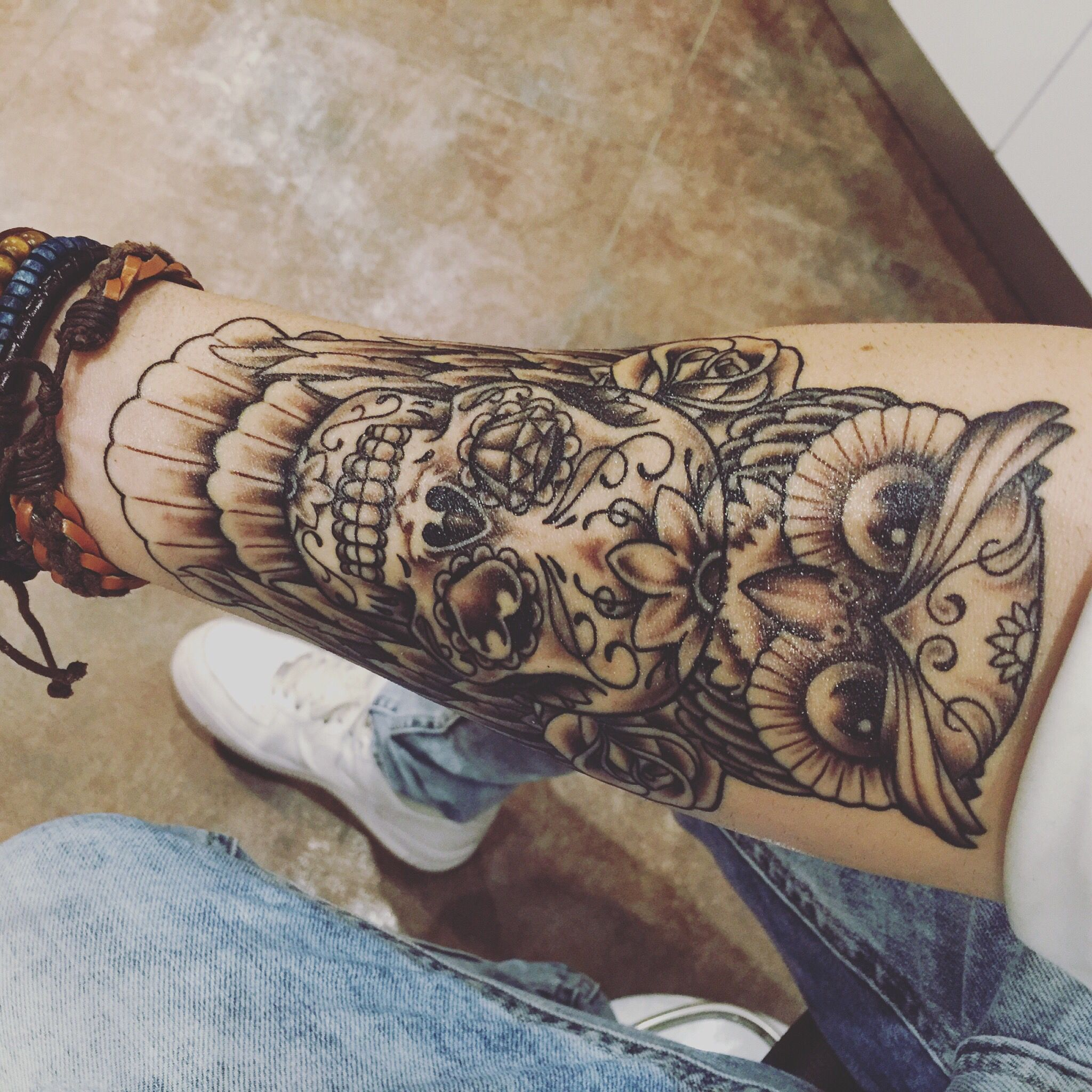 Hibou Skull Mexicain Tatoo Bras Tattoo Ideas Tatouage Tatouage