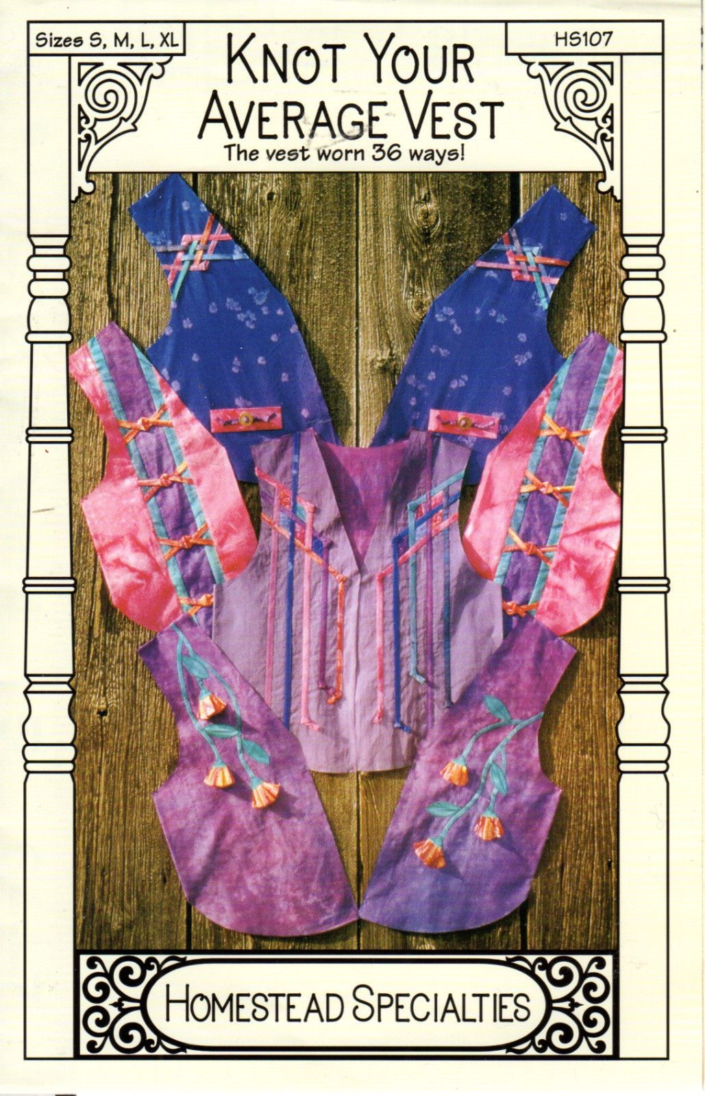 "1997 UNCUT Homestead Specialties Sewing Applique Pattern ""Knot Your Average Vest | eBay"