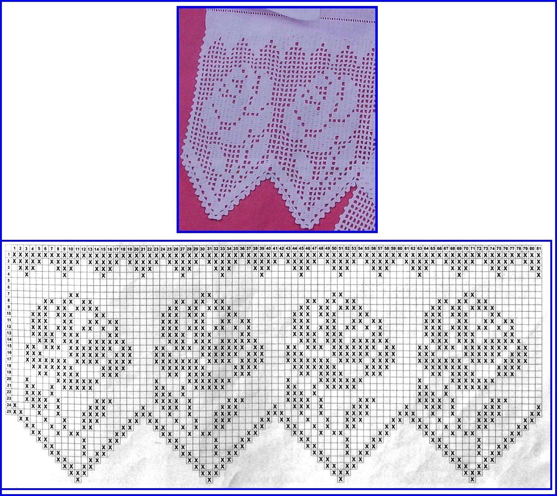Alô meninas crocheteiras, aqui vai mais  uns barrados de r osas com gráfico para vocês!