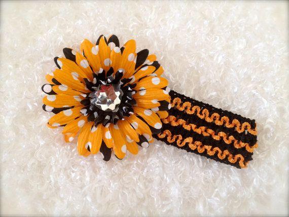 Halloween Polka Dot Orange Black headband