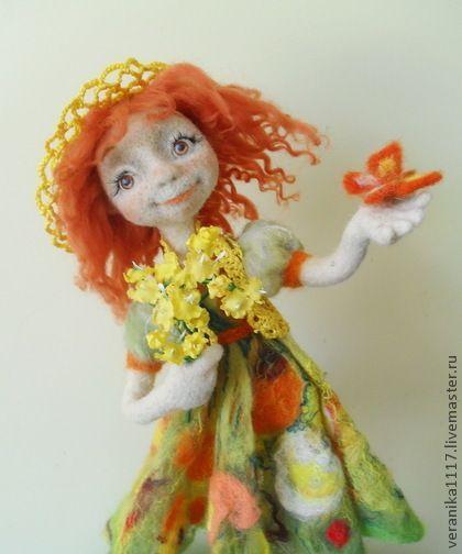 "*NEEDLE FELTED ART ~ Collectible handmade dolls. Fair Masters - handmade wool Dolls ""Smile summer."" Handmade. Interior doll.:"