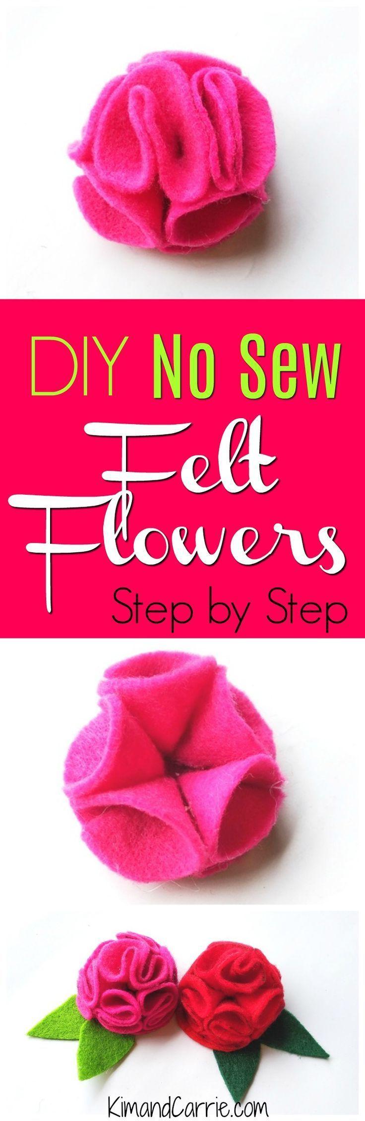 Diy no sew felt flowers ruffled flower pattern felt