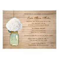 Country Rustic Mason Jar Hydrangea Bridal Shower Custom Invites