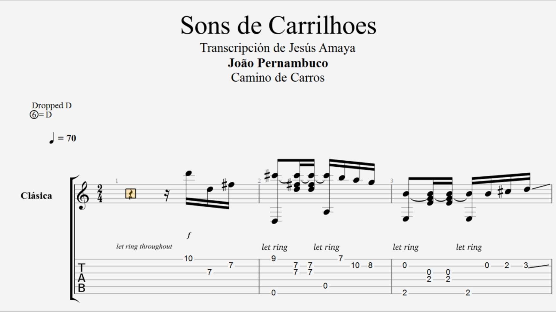 Sons De Carrilhoes Tablatura De Guitarra Joao Pernanbuco