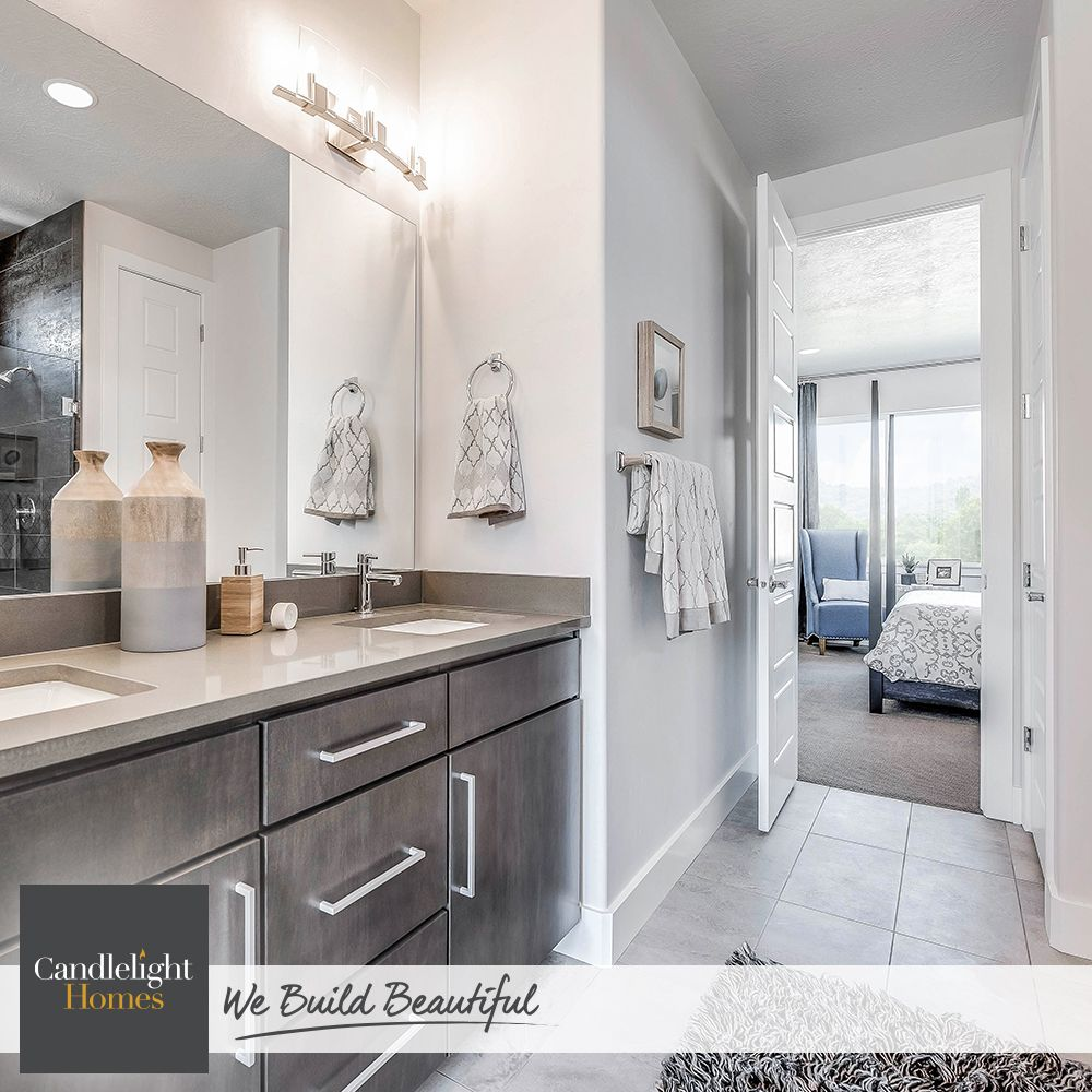 Gray On Gray Is Definitely Not Drab In This Contemporary Master Bath Candlelighthomes Utahhomes Utahbuilder Webuild Home New Homes For Sale Bathroom Decor