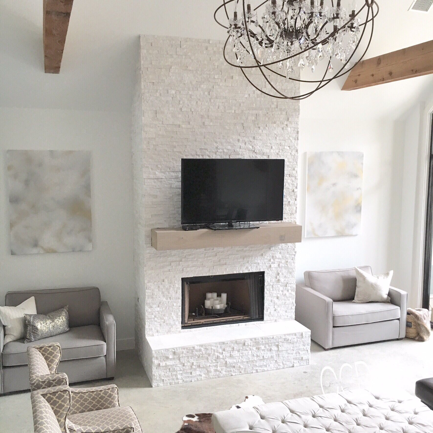 Like The Brick Beams Dark Floors Decor Chandelier Is: White Grey Gray Neutral Decor Living Room Rustic Glam