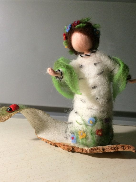Needle felted doll Waldorf inspired Wool Fairy Birch by DreamsLab3                                                                                                                                                                                 Mais