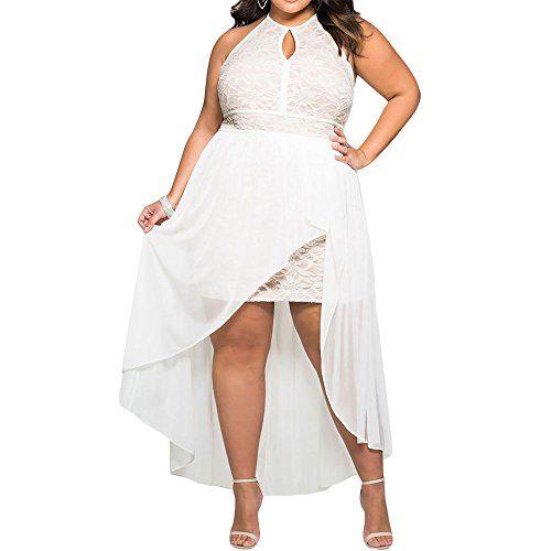 21+ Plus size white high low dress info