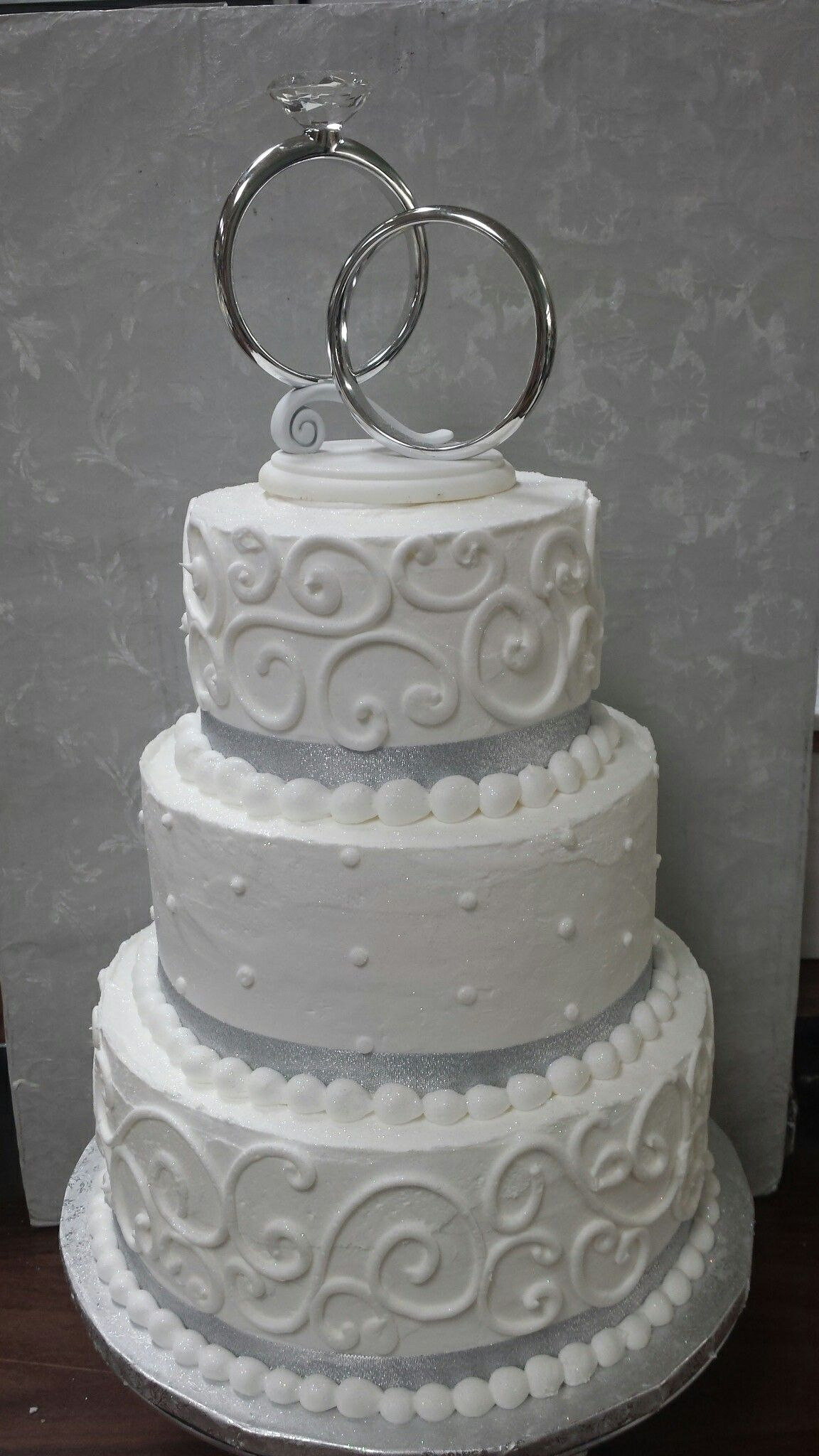 giant wedding ring Modern wedding cake Giant wedding ring topper and large swirls to match Soft Silver