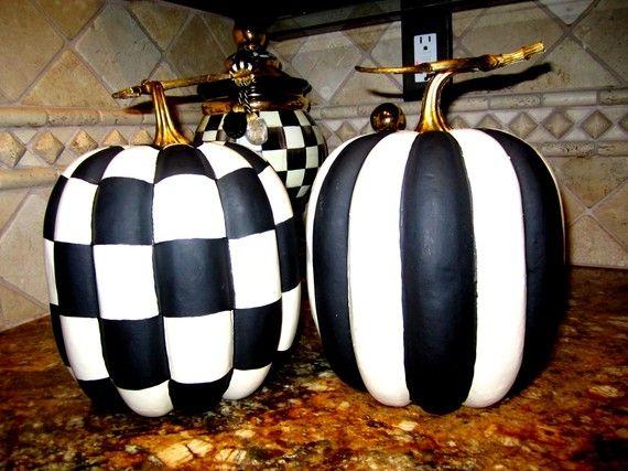 ON SALE Stripe Black White Pumpkin Decor Fall by regalpeacock