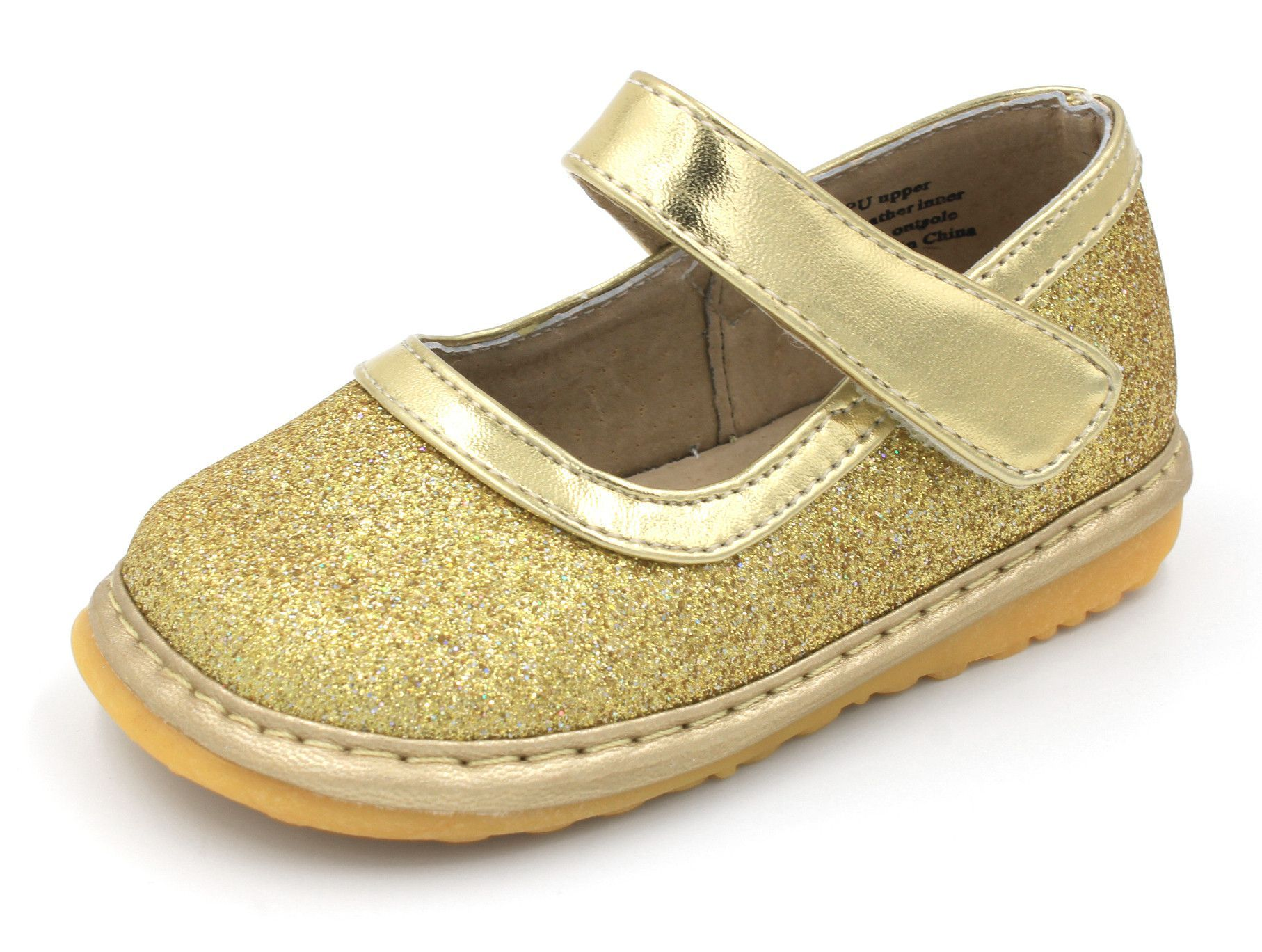 Squeaky Shoes For Toddlers Girls Gold Sparkle Mary Janes