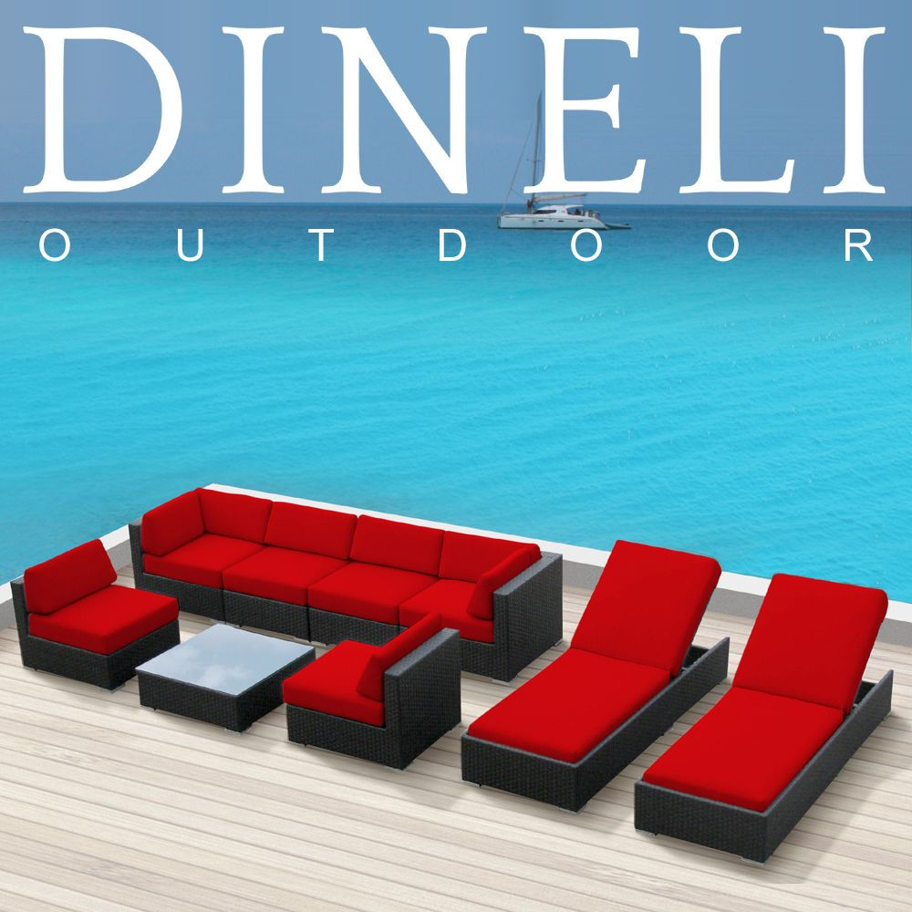9 Dineli Modern Patio Wicker Set Outdoor Sectional Sofa Furniture Lounger Chairs