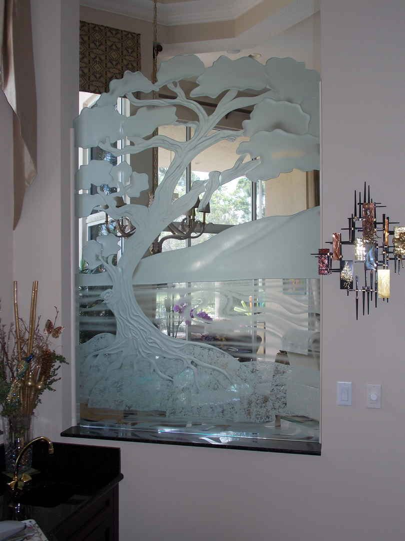 frosted glass room divider