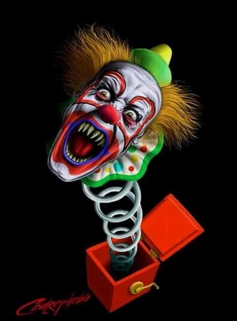 scary clown from a box of death weird characters and