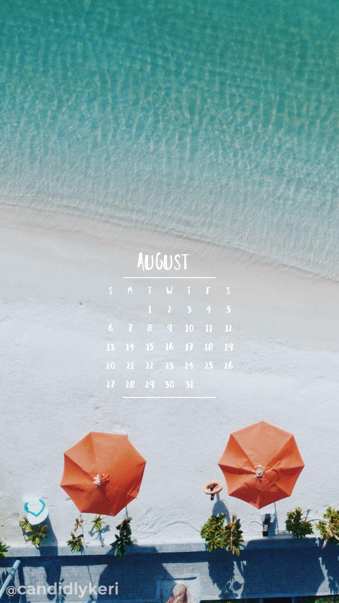 Beach Fun Oragne Umbrella August Calendar 2017 Wallpaper You Can Download  On The Blog! For