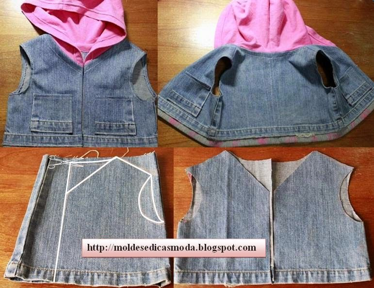 0844621bcc RECICLAGEM DE JEANS Ideia de reciclagem para fazer colete de criança. Com  as pernas da calça jeans e o capuz de um casaco que já não use faça este  modelo s