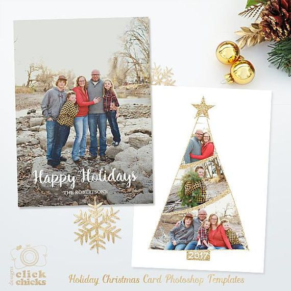 Holiday Christmas Card Template For Photographers 5x7 Photo Card Photoshop Template 041 Instant Download Christmas Card Template Christmas Card Pictures Christmas Photo Cards