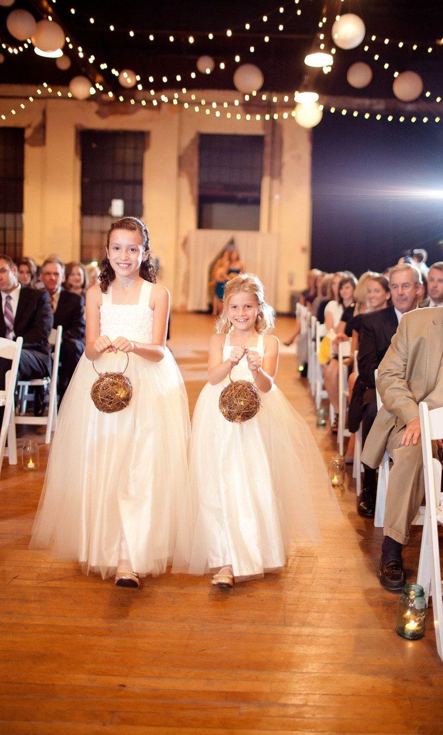 Rustic wedding flower girl dresses  Rustic Flower Girl Basket Firefly Lantern Woodland Wedding Decor