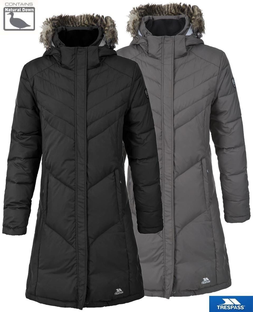 Trespass Reeva Womens Down Parka Jacket Warm Long Coat with Fur Hood