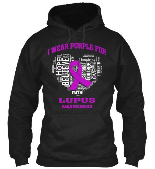 Lupus Awareness T-Shirt Wear Purple Love Cure Support Hooded Sweatshirt 3iAD6