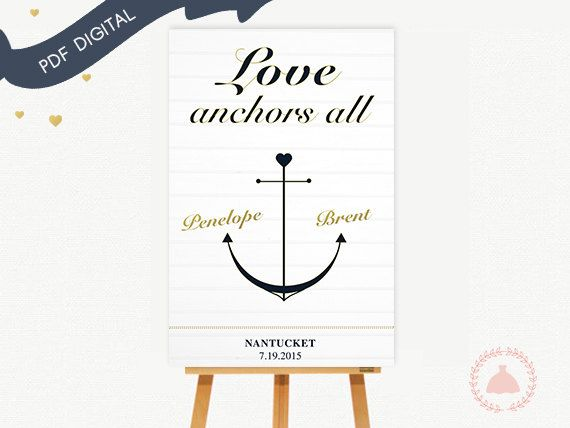 Welcome to The Girl and the Dress!  This custom nautical sign is perfect to welcome guests on your special day. It is possible make it in