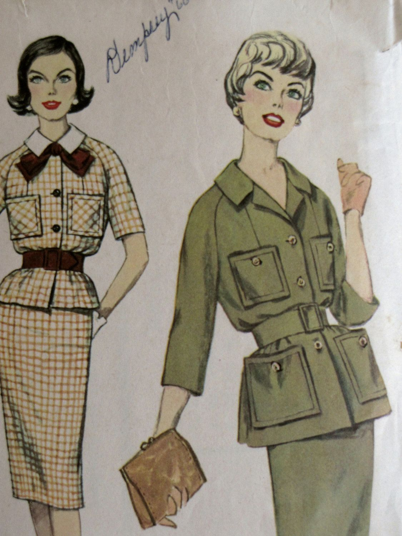 Vintage Women S Dress Suit Safari Jacket Pattern Simplicity 3102