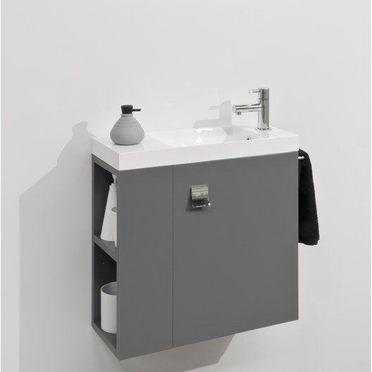Meuble Lave Mains Avec Miroir Gris Gris N 1 L 55 X P 22 X H 53 5 Cm Slim Meuble Lave Main Lave Main Wc Meuble Lave Main Wc