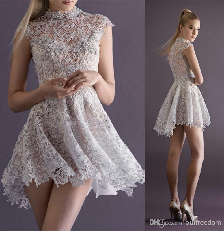 2014 New Sexy Lace Cocktail Dresses With High Neck Cap Sleeve Sheer Back A Line Short Mini Paolo Sebastian Prom Party Pageant Gowns