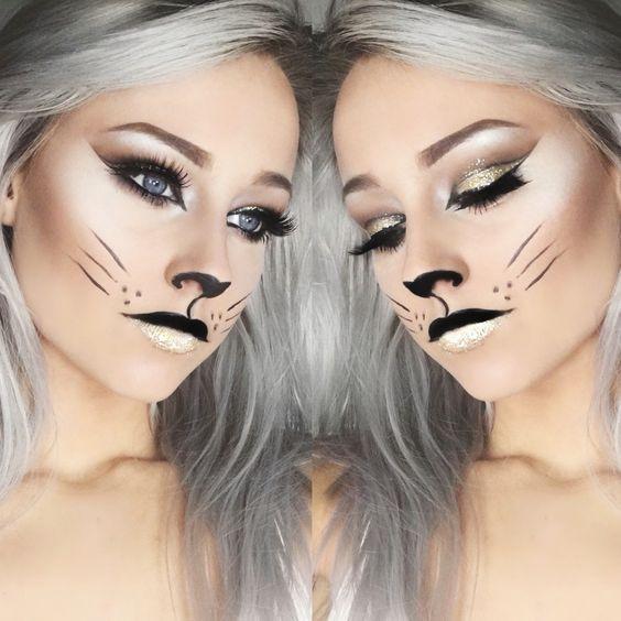 16 Last-Minute Halloween Costumes That Only Require Makeup - cat halloween makeup ideas