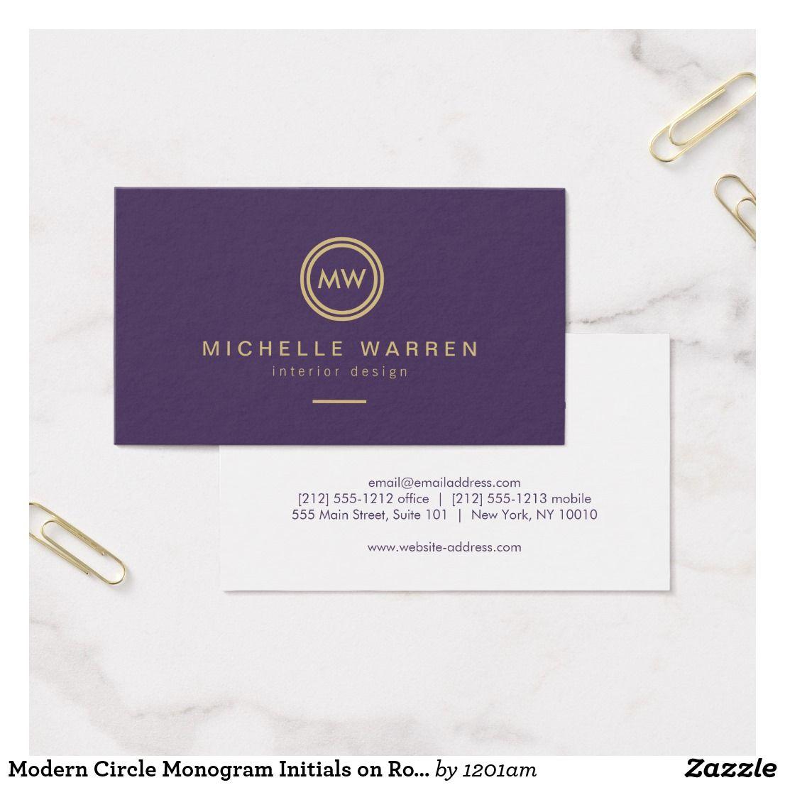Modern Circle Monogram Initials on Royal Purple Business Card ...
