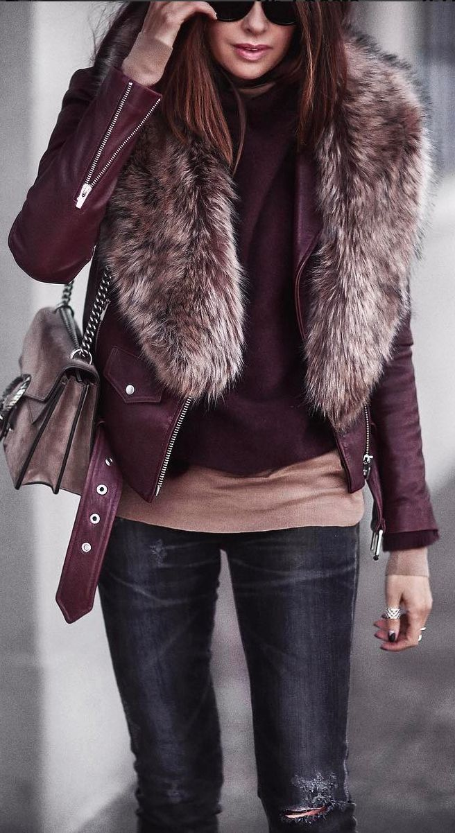 Faux leather red jacket, faux fur like matched jumper to