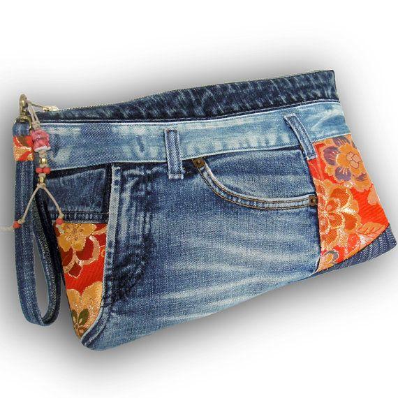 Recycelt alte Jeans & handgefärbt Indigo Stoff Kupplung 2-Way ...