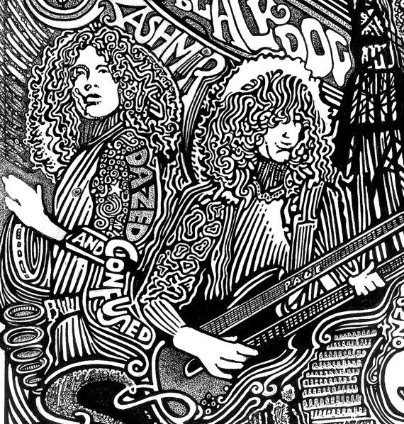 incredible led zeppelin robert plant jimmy page pen ink by posterography 3995